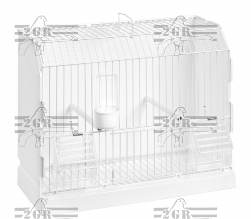 Show Cage  12 x 6 7/8 x 14 1/8, includes perches & feeders, white wire grid