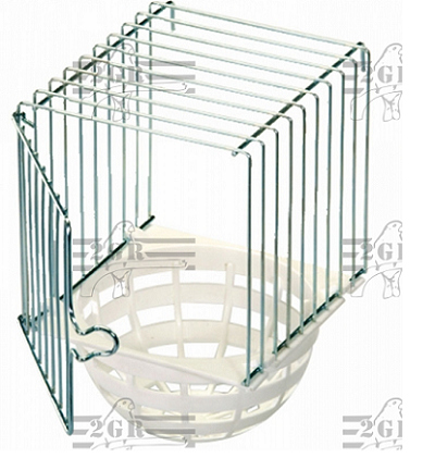 Plastic Outside Canary Nest with wire cage surround, 6.5h x 4w x 4d - Canary Breeding Supplies