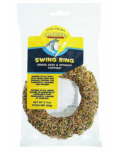 Sunscription Vita Prima Spinach and Grass Seed Ring - Parakeet, Canary and Finch Supplies - Bird Food